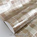 壁紙 45×300cm 正方形タイル 茶色 コーヒー  DIY リフォーム インテリア キッチン/トイレ/浴室にも 防油 防水 PVC h04007