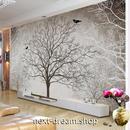 3D 壁紙 1ピース 1㎡ 枯れ木 レトロ セピア インテリア 部屋装飾 耐水 防湿 防音 h02865