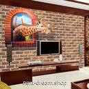 3D 壁紙 1ピース 1㎡ レンガ 窓からキリン DIY リフォーム インテリア 部屋 寝室 防湿 防音 h03230