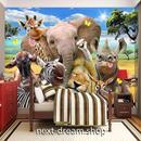 3D 壁紙 1ピース 1㎡ サバンナの動物 象 きりん インテリア 装飾 寝室 リビング 耐水 防湿 h02525