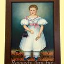 売却済み       フォークアートの肖像画の複製(額入り)