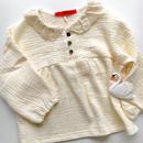 lace color waffle blouse / ivory