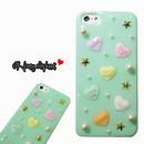 【iPhoneSE/5s/5】candy heart ミントスタッズ