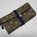 道中財布 濃紺デニム製(一部ブリーチ加工)家紋菱 金