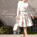 [春色スカート]ユメリボンYumeribon フローラルスカート フラワー 白ホワイト ベージュ 膝丈 デート