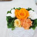 プリザーブドローズのクラシカルアレンジメント【orange&pearl】