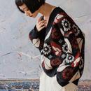 retro flower v-neck sweater