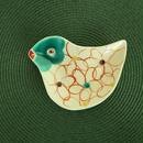 九谷焼、鳥型小皿⑤ 一点もの、赤地 径、新入荷