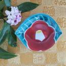 九谷焼小皿  椿紋 葉型小皿、赤地 径、再入荷待ち