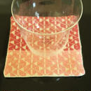 南部菱刺しコースター、赤×ピンク、倉茂洋美  、一点もの