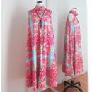 オリジナルワンピース Bi's Closet スタンドカラー ピンク&ライトブルー