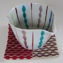 南部菱刺しのコースター、赤×茶、倉茂洋美