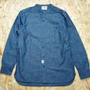 So Glad Band Collar Chambray Shirt Blue