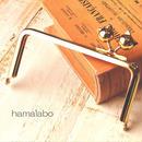 【HA-1528】<横ひねり>12cm/角型の口金(ネコ玉×ゴールド)