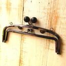【HA-815】<初回限定価格>親子口金 20.4cm(大きな黒色の木玉×ブラック)・カン付き