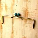 【HA-1225】25cm/角型(ちょっと大きな紺色の木玉×アンティークゴールド)