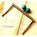 11月9日販売開始!【HA-1498】12cm浮き足口金/ちょっと大きな紺色の木玉(アンティークゴールド)