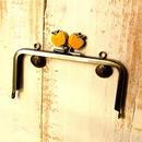 【HA-397】12cm/角型(黄リンゴ×アンティークゴールド)・カン付き