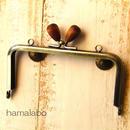 【HA-324】12cm/角型(茶色の木オーバル×アンティークゴールド)・カン付き