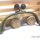 【HA-169】12.5cm/くし型(茶色の木玉×アンティークゴールド)