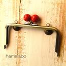 <廃盤予定>【HA-322】12cm/角型(赤玉×アンティークゴールド)・カン付き