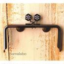 【HA-1509】12cm角型の口金(六花-雪の結晶×ブラック)