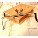 【HA-1440】三枚口(二口口金)19cm/(茶色の木オーバル×アンティークゴールド)・カン付き
