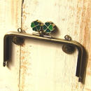 【HA-181】幸せの四つ葉のクローバー口金(12cm角型カン付き-アンティーク×グリーン-)