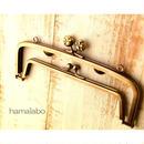 【HA-362】<廉価版>親子口金 19cm(肉球×アンティークゴールド)・カン付き