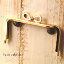 【HA-379】リボン口金/12cm角型(ゴールド)
