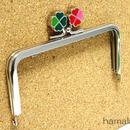5月16日販売開始!【HA-1427】幸せの四つ葉のクローバー口金(12cm角型グリーン×レッド)