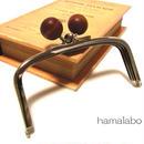 【HA-149】三枚口(二口口金)12cm/(茶色の木玉×シルバー)