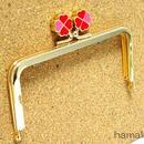 【HA-1424】幸せの四つ葉のクローバー口金(12cm角型ゴールド×レッド)