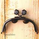 【HA-1510】10cmくし型の口金(六花-雪の結晶×ブラック)