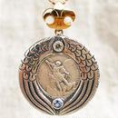 Michaelシルバーメダル&ダイヤモンド&タンザナイト シルバー&18Kゴールドペンダントトップ PROTECTION (L)(RMD1028)