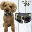 犬猫用付け襟 マドラスチェック ネイビーグリーン【S~LLサイズ】 シャツカラー つけえり