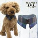 犬猫用付け襟 ネル起毛チェック ブルーグリーン【S~LLサイズ】 シャツカラー つけえり