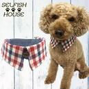 犬猫用付け襟 トリコロール チェック【S~LLサイズ】 シャツカラー つけえり