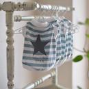 星(グレー色)プリントボーダーシャツ