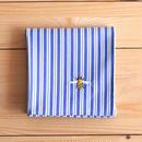 ハンカチ ストライプ ミツバチ刺繍