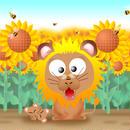 A4イラスト017 ライオンさんフラワー