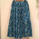 ブルー 総柄ロングスカート