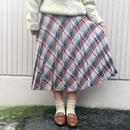 レッド×グリーンチェックプリーツスカート