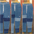 "JAVARA ""PATCHWORK INDIGO DYE SWEAT PANTS""(MEDIUM WASH)"