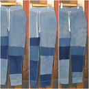 "JAVARA ""PATCHWORK INDIGO DYE SWEAT PANTS""(USED WASH)"