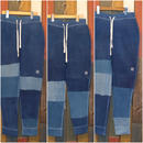"JAVARA ""PATCHWORK INDIGO DYE SWEAT PANTS""(ONE WASH)"