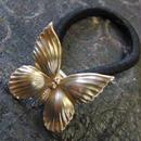 真鍮製 バタフライ(蝶)型ループコンチョ/ヘアゴム付き/縫い留めで飾りとして