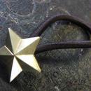 真鍮製スター(星)型ループコンチョ/ヘアゴム付き/縫い留めで飾りとして