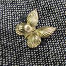 真鍮ブラス製 ミニバタフライ(蝶)型ピンズブローチ ジャケットやハットの飾りとして