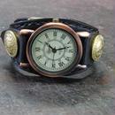 レトロ調時計使用 黒レザー コインコンチョ本革ブレスレット型腕時計